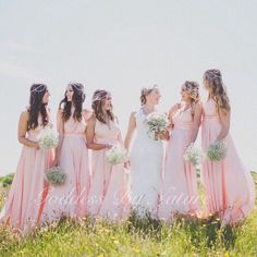 Pastel loving at this breathtaking outdoor New Zealand wedding with beautiful bride Gina and her stunning Goddess By Nature bridal party wearing the signature ballgown the gorgeous Sweet Blush colour. Award winning Australian made luxury collections for bridal, formal and special occasion wear. 1 multiway dress styled & worn different ways to flatter and suit all shapes and sizes.