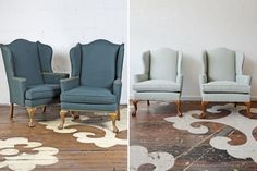 Our Fabricut rep purchased this lovely wingback pair from our inventory and chose Fabricut's Trend in Ocean for reupholstery. This pair played a prominent role in her wedding reception. Our congratulations to the happy couple! Furniture, Reupholstery, Love Seat, Home Decor, Couch