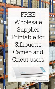Printable Wholesale Supplier List for Silhouette Cameo and Cricut Small Businesses - Cutting for Business Silhouette Cutter, Silhouette School, Silhouette Machine, Silhouette Design, Silhouette Vinyl, Silhouette Cameo Shirt, Silhouette America, Silhouette Files, Inkscape Tutorials