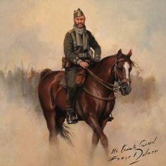 Mi Teniente Coronel, obra de Augusto Ferrer-Dalmau. Pequeño cuadro de 29x29 cm., de un teniente Coronel de la la Legión con uniforme de camp...