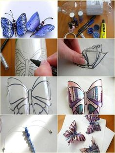 - Bottle Crafts - Make Butterfly Decorations Using Plastic Bottles - Find Fun Art Projects to Do a. Make Butterfly Decorations Using Plastic Bottles - Find Fun Art Projects to Do at Home and Arts and Crafts Ideas. Water Bottle Crafts, Plastic Bottle Flowers, Plastic Bottle Crafts, Plastic Art, Recycle Plastic Bottles, Cool Art Projects, Arts And Crafts Projects, Diy Projects, Easy Arts And Crafts