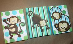 Set of 3 Mini Aqua Pop Monkey 5x7 Stretched Canvases Baby Nursery CANVAS Bedroom Wall Art on Etsy, $45.00