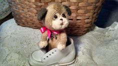 Artist thread crochet 4 1/2 puppy dog teddy by SweetHeartThreads