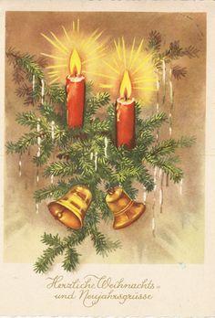 Weihnachten - Tannenzweig Kerzen Glocken, 1962