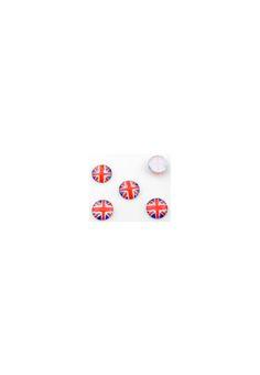 Mix kunststof plakstenen rond met Engelse vlag facet geslepen ± 14x4mm Nintendo Wii, Logos, Angel, Logo