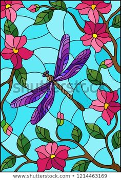 Imagens, fotos stock e vetores similares de Illustration in stained glass style with bright dragonfly against the sky, foliage and flowers - 405089431 Stained Glass Quilt, Bright Purple, Art Journal Pages, Love Flowers, Mosaic Glass, Illustration, My Arts, Royalty, Drawings