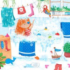 pirate bath - children illustration by Sofia Cardoso #illustration #kidlitart