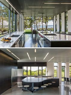 In this modern kitchen, there's concrete floors with radiant heat, and on the ceiling there's perforated blackened steel. To make sure there's enough room for the family in the kitchen, custom designed stools have been attached to the large curved island. Family Room Design, Interior Design Living Room, Custom Kitchens, Concrete Floors, Modern House Design, Kitchen Design, Kitchen Modern, Beautiful Homes, Architecture Design