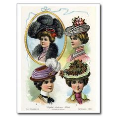 Fashion Plate, Stylish Autumn Hats - The Delineator, September 1901 by winifred Victorian Hats, Edwardian Era, Edwardian Fashion, Vintage Fashion, Elizabethan Era, Victorian Dresses, Victorian Ladies, Moda Vintage, Vintage Art