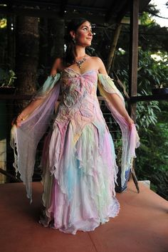 Nuno Felted Magical Silk Leaf And Vine Elven Princess Wedding Gown Dress Top, it's different but very pretty! Pretty Dresses, Beautiful Dresses, Gorgeous Dress, Rainbow Wedding Dress, Elven Princess, Elven Queen, Princess Tutu, Fairy Clothes, Fantasy Dress