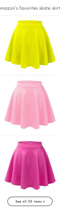 """""""Amazon's favorites skate skirts"""" by luni-salazar ❤ liked on Polyvore featuring skirts, bottoms, saias, gonne, skater skirts, flared hem skirt, yellow circle skirt, flare skirt, yellow skirt and mini skirts"""