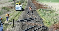 Train tracks in Canterbury, New Zealand after an earthquake.