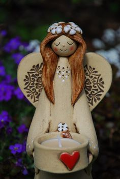 Angel Sculpture, Sculpture Clay, Clay Cats, Handmade Angels, Angel Decor, Wine Bottle Art, Clay Figures, Pottery Painting, Diy Clay