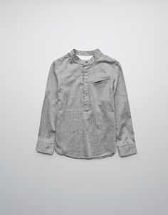 HERRINGBONE SHIRT WITH MAO COLLAR - Shirts - Boy (2-14 years) - Kids - ZARA United States