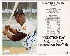 HANK- AARON -Signed-Autographed-8x10- HOF - Induction - Day - Postcard -Photo ...