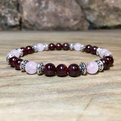 Bracelet femme en grenat et quartz rose «amour et engagement »