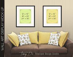 7ec23ec08f7 Brown Yellow Sofa Wall Interior Set of Black by TanyDiDesignStudio Frame  Display