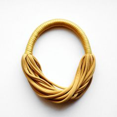the funky party necklace - handmade in gold fabric from birdie num num  by DaWanda.com