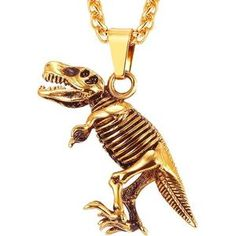 dc8b305e282 Stainless Steel Tyrannosaurus Rex Pendant Necklace Gold Black Color  Dinosaur Bones Fossil Punk Animal Men Jewelry