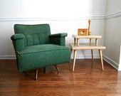 Mid Century Upholstered Swivel Rocker. Green Original Fabric. Eames Era. Atomic