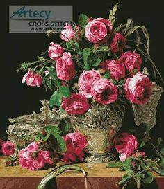Roses Painting - cross stitch pattern designed by Tereena Clarke. Category: Paintings.