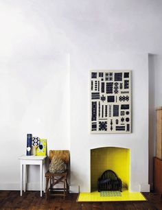 Color! - French By Design | yellow fireplace interior is excellent, and the black/white print is great too