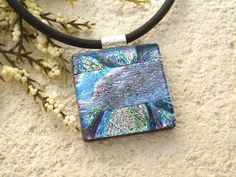 Glass Jewelry Metallic Necklace Dichroic Glass by ccvalenzo