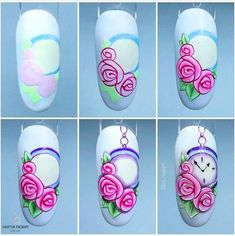 Heat Up Your Life with Some Stunning Summer Nail Art Rose Nail Art, Rose Nails, Flower Nail Art, Flower Nail Designs, Nail Art Designs, Nail Art Modele, Nail Drawing, Yellow Nail Art, Nail Techniques