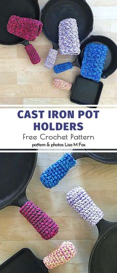 Useful Crochet Kitchen Accessories Free Patterns - Crochet patterns - Useful Crochet Kitchen Accessories Free Patterns Cast Iron Pot Holders Free Crochet Pattern Crochet Design, Crochet Diy, Crochet Home, Crochet Projects To Sell, Sewing Projects, Crochet Potholders, Crochet Motifs, Doilies Crochet, Knitting Patterns