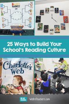 25 Ways to Build Your School's Reading Culture 25 Ways to Build Your School's Reading Culture. When we let students know that reading is worthwhile, it creates a chain reaction of learning. Here are 25 strategies for fostering a reading culture. School Library Displays, Elementary School Library, I School, Elementary Schools, School Library Lessons, Library Skills, School Stuff, Reading Display, Reading Library
