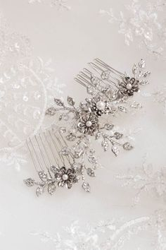 BESPOKE for Joanne_silver and crystal bridal comb for Joanne 1