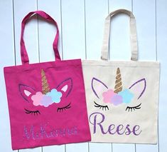 Personalized Unicorn Tote Bag, Custom Birthday Tote, Unicorn Party Favor, Gifts for Party Guests, Pi Engagement Party Games, Wedding Party Games, Boy Party Favors, Craft Party, Diy Party, Ideas Party, Princess Party Games, Slumber Party Games, Birthday Party Games