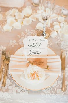 Blush and gold table details: http://www.stylemepretty.com/little-black-book-blog/2014/10/01/elegant-san-clemente-estate-wedding/ | Photography: Onelove Photography - http://www.onelove-photo.com/