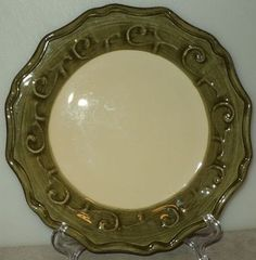 Gemma Baroque Pier 1 One Italy Mosstone Green Scalloped Edge Salad Plate  ~ This Item is for sale at LB General Store http://stores.ebay.com/LB-General-Store ~Free Domestic Shipping ~