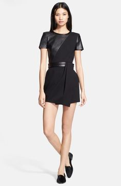 The Kooples Leather Contrast Fit & Flare Dress available at #Nordstrom