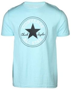 4edab1c7bc3c Converse Men s Distressed All Star Chuck Taylor Patch T-Shirt-Light  Blue-Small