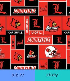 d8f0ceb540d University of Louisville Cardinals College Team Sports Fleece Fabric Print  012