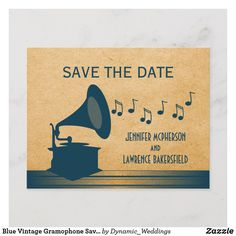 Shop Blue Vintage Gramophone Save the Date Postcard created by Dynamic_Weddings. Personalize it with photos & text or purchase as is! Save The Date Postcards, Vintage Postcards, Texture Art, Paper Texture, Speakeasy Party, 1920s Speakeasy, Great Gatsby Wedding, 1920s Wedding, 1920s Theme