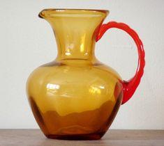 Vintage Art Glass Pitcher Red Amber Orange by RustbeltTreasures