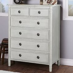 Evolur Julienne 6 Drawer Dressers Chest Finish: Pebble Gray