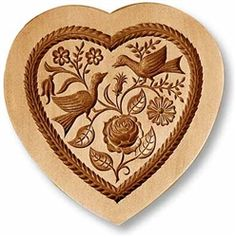 """Heart with Two Doves springerle cookie mold, 3.3x3.3"""" (85x85mm)</span><br> $38"""