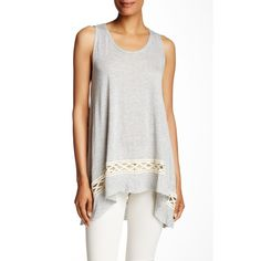 Dantelle Crochet Detail Hi-Lo Tank ($23) ❤ liked on Polyvore featuring tops, grey, grey top, gray tank top, scoop neck top, scoop neck tank top and sleeveless tank tops