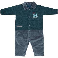 24543aa087 Macacão de Bebê Menino em Plush e Tricot Verde - Sonho Mágico    764 Kids