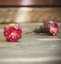 Coral Rhinestone Stud Earrings, Peach, Swarovski, Brass