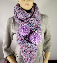 KNITTING PATTERN SCARF  I Love Pompoms Scarf Cowl Pattern