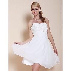 TS Couture® Cocktail Party / Graduation Dress - White Plus Sizes / Petite A-line / Princess Strapless / Sweetheart Knee-length Chiffon – USD $ 79.99