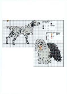 english setter-sheepdog Knitting Charts, Knitting Patterns, Cross Stitch Charts, Cross Stitch Patterns, Embroidery Applique, Embroidery Patterns, Dog Chart, Dog Quilts, English Setter