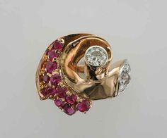 14 Karat Diamond and Ruby Rose Gold Ring