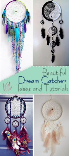 Beautiful Dream Catcher Ideas and Tutorials - http://www.diyhomeproject.net/beautiful-dream-catcher-ideas-and-tutorials