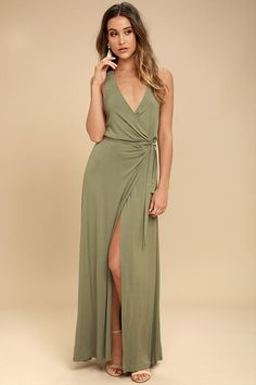 Road to Rome Washed Olive Wrap Maxi Dress 11b149078